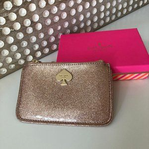 Kate Spade Rose Gold Glitter Bug Small Flat Pouch